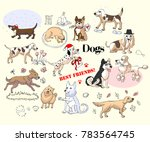 funny dogs sketches set. hand... | Shutterstock .eps vector #783564745