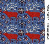 deer in winter forest ... | Shutterstock .eps vector #783575002