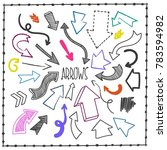 sketchy arrow set. hand drawn... | Shutterstock .eps vector #783594982