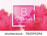 pink paper cut flower. 8 march. ... | Shutterstock . vector #783595396
