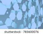 blue hexagons of random size on ... | Shutterstock . vector #783600076