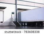 long dry van semi trailer with... | Shutterstock . vector #783608338