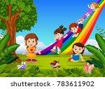 cartoon kids sliding down the...   Shutterstock . vector #783611902