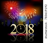 fireworks for new year with... | Shutterstock . vector #783619192