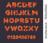 fire alphabet font on dark... | Shutterstock .eps vector #783620062