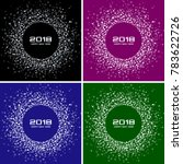 happy new year 2018 card set... | Shutterstock . vector #783622726