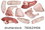 Small photo of Pieces of raw meat of different varieties for cooking a greasy jelly snack. Each piece is pre-set in two projections, from above and from below.. Isolated on white studio set