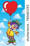 clown with heart shaped balloon ... | Shutterstock .eps vector #783681292