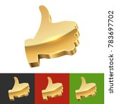 thumb up 3d sign. gold icon of... | Shutterstock .eps vector #783697702