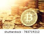 golden bitcoin coins closeup... | Shutterstock . vector #783719212