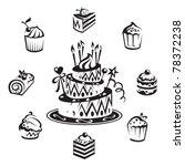 set of cakes | Shutterstock .eps vector #78372238