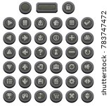 medieval themed buttons with...