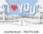 3d abstract paper cut... | Shutterstock .eps vector #783751108