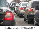 cars in a traffic jam in winter.... | Shutterstock . vector #783769822