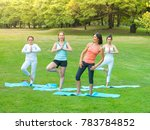 group of cute woman relaxing... | Shutterstock . vector #783784852