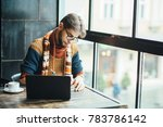 sudent hipster bearded man in...   Shutterstock . vector #783786142