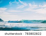 Blue Wave In Ocean. Swell For...