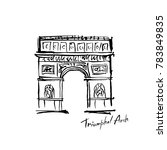 paris triumphal arch painted in ... | Shutterstock .eps vector #783849835