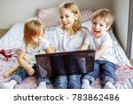 kids playing with laptop... | Shutterstock . vector #783862486
