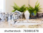 Closeup of modern bathroom sink with neutral granite countertop and mirror, green plant in pot - stock photo
