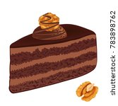 chocolate cake with nuts. a... | Shutterstock .eps vector #783898762