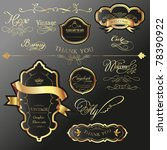cool golden label tag set with... | Shutterstock .eps vector #78390922
