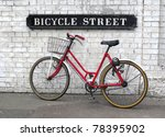 Bicycle Street Sign With A Red...