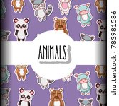 cute animals patches background ... | Shutterstock .eps vector #783981586