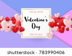 valentines day sale background. ... | Shutterstock .eps vector #783990406