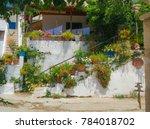 flowers street crete creece | Shutterstock . vector #784018702