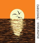 vector background of sea and... | Shutterstock .eps vector #784035892