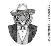 wild tiger wild animal wearing... | Shutterstock . vector #784080532
