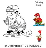 hockey player. coloring book.... | Shutterstock .eps vector #784083082