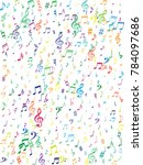 colorful flying musical notes...   Shutterstock .eps vector #784097686
