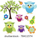cute owls with trees and flower | Shutterstock .eps vector #78411574