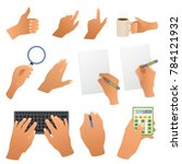 hands in the office pointing... | Shutterstock . vector #784121932