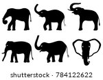 black silhouettes of elephants... | Shutterstock . vector #784122622