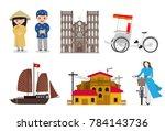vietnamese landmarks and... | Shutterstock .eps vector #784143736