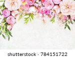 Stock photo summer blossoming delicate roses on blooming flowers festive background pastel and soft bouquet 784151722