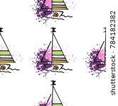 childish drawing yacht...   Shutterstock .eps vector #784182382