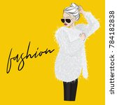 vector glamour woman in fur... | Shutterstock .eps vector #784182838