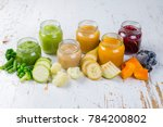 colorful baby food purees in... | Shutterstock . vector #784200802