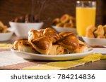 brazilian snack. meat esfiha... | Shutterstock . vector #784214836