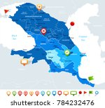 caucasus region map   detailed... | Shutterstock .eps vector #784232476