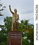 Small photo of PORT BLAIR, ANDAMANS, INDIA, NOVEMBER 22, 2017: Statue of the Indian political leader Veer Savrkar, near the infamous Cellular Jail where he was exiled and tortured by the cruel British.