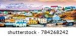 stykkisholmur colorful... | Shutterstock . vector #784268242