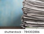 close up newspapers folded and... | Shutterstock . vector #784302886