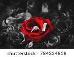 Stock photo wedding rings on red roses diamond ring inside red rose taken closeup the perfect valentine s day 784324858