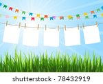 Stock vector hanging blank paper on clothesline in field sunny day festive flags blank white space 78432919