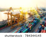 container ship in export and... | Shutterstock . vector #784344145